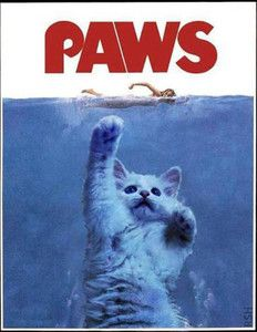 Jaws PARODY Paws When Cats Attack New Custom Funny T Shirt | eBay