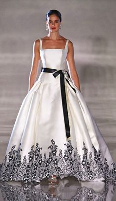 Sweetheart Strapless White Wedding Gown Dress with Black Appliques ...