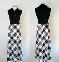 1970s Black White Plaid Maxi Dress / Vintage by rileybellavintage