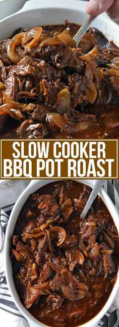 Slow Cooker BBQ Pot Roast - Mother Thyme - My list of the most healthy food recipes Slow Cooking, Slow Cooked Meals, Cooking Recipes, Slow Cooker Summer Recipes, Slow Cooker Sausage Recipes, Easy Pot Roast, Beef Pot Roast, Slow Cooker Pot Roast, Roast In Crockpot