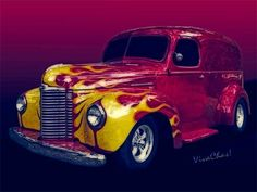 Flaming 47 International Panel Truck is a Hauler of a rod! ~:0) VivaChas!