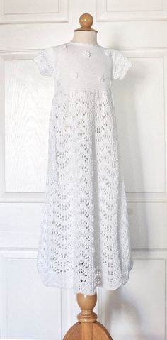 Christening Gown Hand Knit in white organic cotton for Baby Girl Baptism