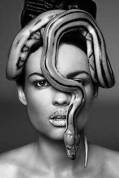 This will be a party for one. gold snake to match the lips Color Splash, Color Pop, Snake Photos, Snake Girl, Photoshop, Next Top Model, Black And White Photography, Beauty And The Beast, Pretty In Pink