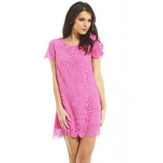 AX Paris Laser Cut Out Shift (€42) ❤ liked on Polyvore featuring dresses, pink, pink print dress, cut out dress, cut out cocktail dresses, ax paris dresses and print shift dress