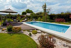Výsledek obrázku pro malé zahrady s bazenem Backyard Landscaping, Pergola, Landscape, Outdoor Decor, Gardens, Home Decor, Backyard Landscape Design, Scenery, Decoration Home