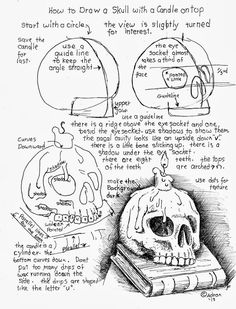 How to Draw Worksheets for The Young Artist: How to Draw A Skull With a Candle on Top.