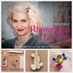 DIY-rhinestone-hair-pin, or clue to hair comb