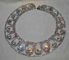 Wide Choker, Collar Necklace Possibly Juliana Clear Rhinestones
