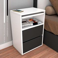 Bedside Drawers, Wood Nightstand, Bed With Drawers, Metal Furniture, Modern Furniture, Home Furniture, Furniture Design, Home Room Design, House Design