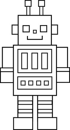 Little Robot Line Art- could have this as an option for first day activity - complete while parent checks student in Portfolio Kindergarten, Kindergarten Art Lessons, Art Lessons Elementary, Art Drawings For Kids, Drawing For Kids, Easy Drawings, Robots For Kids, Art For Kids, Coloring For Kids