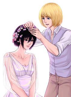 #armin #mikasa getting ready for her wedding