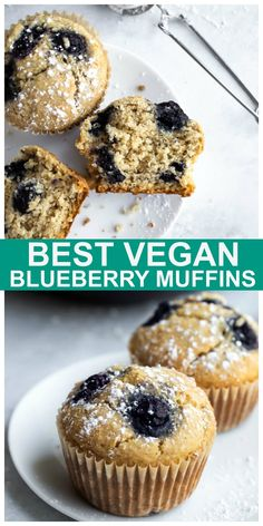 These are the Best Vegan Gluten-free Blueberry Muffins ever, truly! Incredibly soft, light, fluffy & just 8 ingredients and made in 1 bowl! #vegan #glutenfree #blueberry #muffins #oilfree