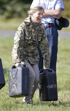 Sophie, Countess of Wessex, carries two jerry cans weighing 20kgs each as part of her annual Countess of Wessex Cup