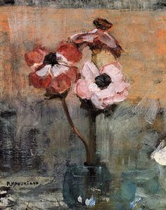 Shop for Piet Mondrian 'Anemones in a Vase' Oil on Canvas Art - Multi. Get free delivery On EVERYTHING* Overstock - Your Online Art Gallery Store! Piet Mondrian, Arte Floral, Dutch Artists, Art Moderne, Fine Art, Painting & Drawing, Flower Art, Canvas Art, Artsy