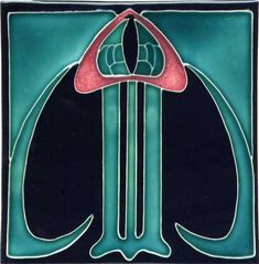 Art Nouveau tile with turquoise, black, and pink
