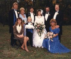 Pacanowski, Lauber, and Sommer families gathered for the wedding of Daniel and Peggy Lauber in Moselle, MO, 1988. Missouri History Museum. collections.mohistory.org #vintagewedding #1908sstyle