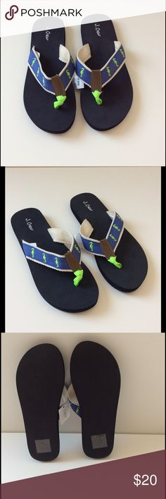 J Crew Embroidered Flip Flop Sandals NWT These classic and cute J Crew woven upper flip flops are embellished with blue canvas embroidered with green seahorses. NWT J. Crew Shoes Sandals