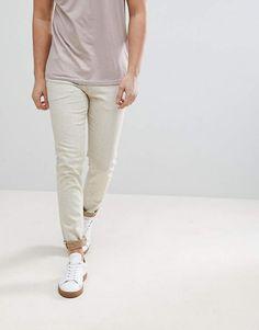 c06226af1e682 Asos Skinny Jeans In Ecru With Nep Asos
