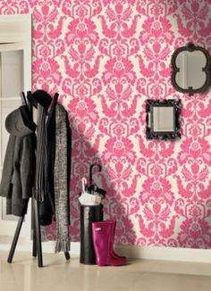 Genuine Flock Wallpaper Cicely - Pink - 99200 Cicely is a modern ornamental damask, screen printed with genuine pink flock, onto a luxury cream pearl paste the wall background which has a metallic gold accents to complement the trail per roll Pink Damask Wallpaper, Flock Wallpaper, Green Wallpaper, Wall Wallpaper, Pink Feature Wall, Garage Sale Pricing, Diy Crafts Hacks, Pearl Cream, Perfect Pink