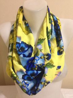 Floral Scarf in BlueInfinity ScarfFloral by Yellowcrochet on Etsy
