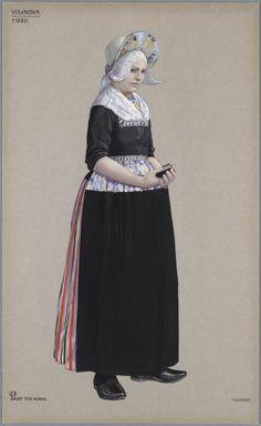 Volendam, ca. 1880. Bruid ter kerke. kunstenaar: Duyvetter, Jan #NoordHolland #Volendam