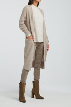 Yaya Long Belted Cardigan with Front Pockets Beach Sand - Trouva Belted Cardigan, Knit Cardigan, Favorite Color, Duster Coat, Khaki Pants, Normcore, Wool, Long Sleeve, Outfits