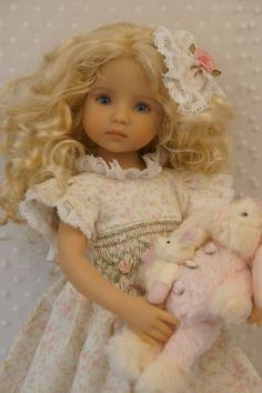 """Effner 13"""" Little Darling *LOVELY LACE* Smocked Dress by Ladybugs Doll Designs"""