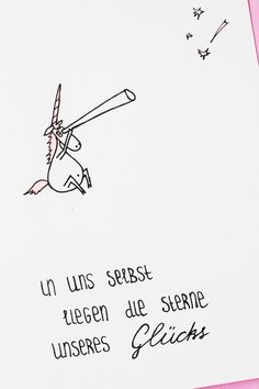 In uns selbst liegen Sterne des Glücks. Ein Doodle mit einem Einhorn und  Spruch zur Motivation.  Some Joys Blog.