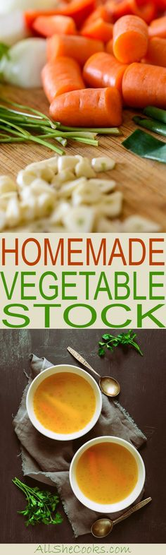 Homemade vegetable stock is an easy to make staple that is a basic ingredient in many recipes. Learn how to make vegetable stock and learn how to cook from scratch. Soup Recipes, Vegan Recipes, Dinner Recipes, Cooking Recipes, Cooking Tips, Detox Recipes, Sweets Recipes, Drink Recipes, Recipes