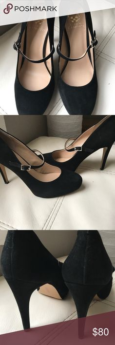 Vince Camuto Heel with strap Vince Camuto in great condition, black suede heel with strap Vince Camuto Shoes Heels