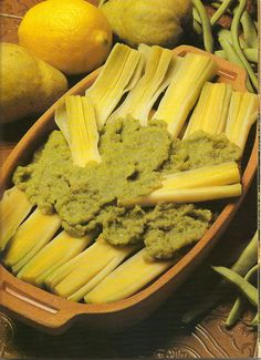 Leeks with Pear and Bean Puree.  Appetizing, yes?
