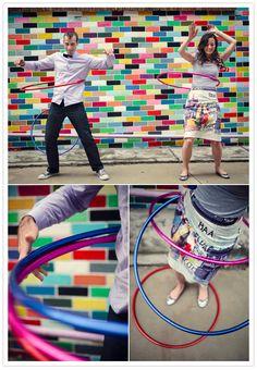 Colorful hula hoop engagement shoot.  Kirralee Weddings Photography.