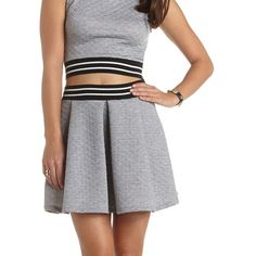 Charlotte Russe Quilted Varsity Skater Skirt ($7.99) found on Polyvore
