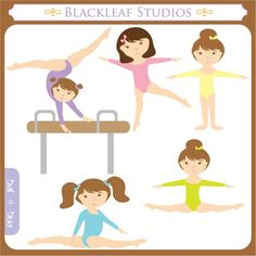 Little Gymnast Clip Art Instant Download - gymnastics, gym, tumble, party, girls, sports, fitness - Personal and Commercial Use Clipart. $5.00, via Etsy.