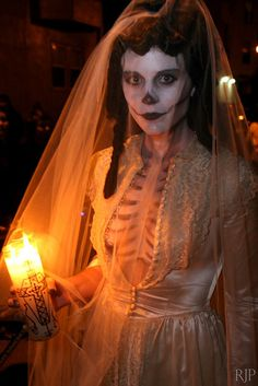 "La Dia de los Muertos calavera bride bridal skeleton costume (Americans refer to this type of costume as a ""sugar skull"")"