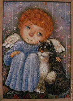 Купить Картина маслом Ангел с котом - Картина для детской, ангел, котик, живопись маслом, голубой