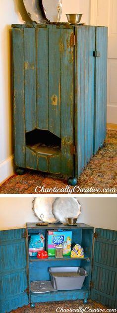 Hidden litter box using reclaimed wood. Love this!