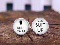 keep calm and suit up cuff links custom keep calm cufflink tie clip custom wedding cufflinks personalized cufflinks groom cuff links (12.88 USD) by timemonogram