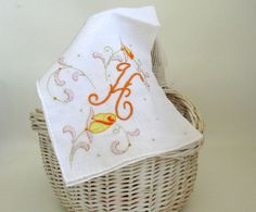 Very special monogrammed hankie. Hand embroidered with letter H and appliqued…
