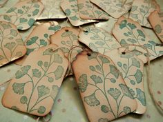 5 Handmade Tags  Gorgeous Gingko Leaves  Coffee by PaperPastiche, $3.95