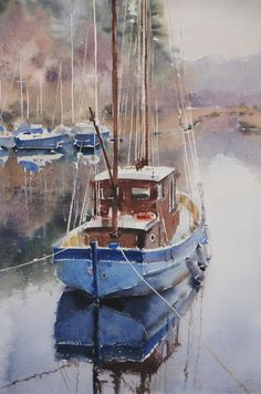 Galina Gomzina Calm on the bay Krinen ( Scotland) Watercolor Architecture, Watercolor Water, Watercolor Landscape Paintings, Seascape Paintings, Scenery Paintings, Ship Paintings, Amazing Paintings, Sailboat Painting, Boat Art