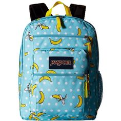 JanSport Big Student (Blue Topaz/Oh Bananas) Backpack Bags (60 CAD) ❤ liked on Polyvore featuring bags, backpacks, jansport bags, blue backpack, zip bags, zipper bag and pocket backpack