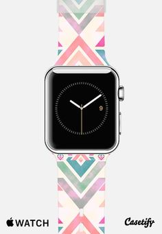 Watercolor pink coral turquoise aztec arrows pattern watch Apple Watch Band case by Girly Trend   Casetify Cute Apple Watch Bands, Apple Watch Fashion, Waterproof Fitness Tracker, Bluetooth Watch, Arrow Pattern, Apple Model, Expensive Watches, Apple Products, Coral Turquoise