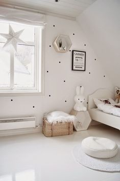 We're loving the little addition of black dots for a little touch of something https://petitandsmall.com/beautiful-white-kids-rooms/ #kidsroom #kidsroomdecor #kidsinterior
