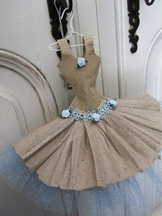 mini ballerina paper dresses | This adorable ballet style dress miniature is made from recycled paper ...