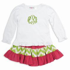 White Cotton Hot Pink Corduroy Lime Chevron Skirt Set