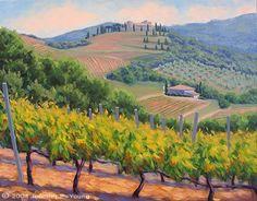 "Piccolomini Vineyard Toscane peinture de paysage par Jennifer Jeune""Piccolomini Vineyard"" (VENDU)"