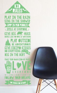 Kids Rules Solid Color - WALL DECAL