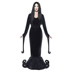 Morticia Costume Adult Vampire Creepy Gothic Halloween Fancy Dress #Smiffys