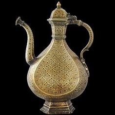 Asian Art | Mughal Brass Ewer, Engraved & with Dark Lac Inlay - The Curator's Eye